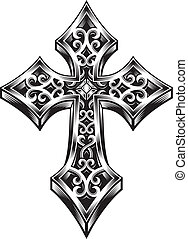 editable vector illustration of ornate celtic cross, suitable for design element, logo, coat of arms, or printing on t-shirt