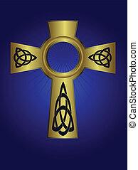 Ornate celtic gold cross on a deep blue background