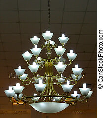 Ornate chandelier luster theater interior detail