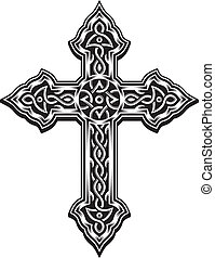 Ornate Christian Cross - editable vector illustration of...