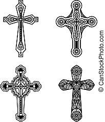 Ornate christian cross icons