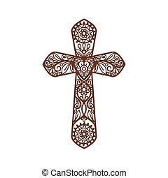 Ornate christian cross on white