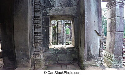 Ornate Columns and stone Windows of Bayon Temple in Cambodia...