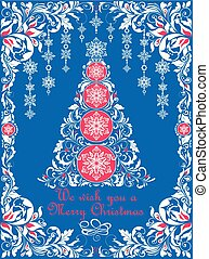 Ornate craft blue Christmas greeting card with white floral paper cut out border,  hanging decoration, snowflakes and decorative xmas tree