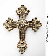 Ornate cross. - Ornamental religious cross against white...