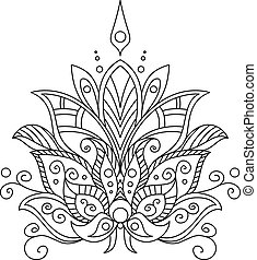 Ornate dainty vintage floral motif in a black and white calligraphic outline for design and ornate