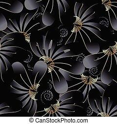 Ornate dark black floral 3d seamless pattern