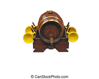ornate decor wine barrel isolated over white