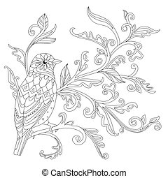 ornate decorative bird sitting on floral branch, looking away. o