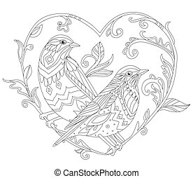 ornate decorative couple of birds sitting on branch, looking in