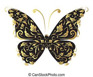 ornate, desenho, seu, borboleta