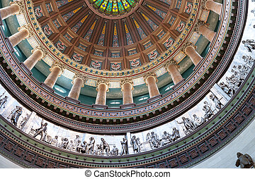 Ornate dome inside state capital building, Springfield, Illinois, USA