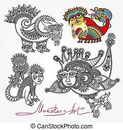 ornate doodle fantasy monster personage