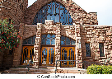 Ornate Doors in Old Red Stone Church