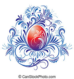 Ornate Easter Egg - Red egg on blue ornament background,...