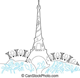 Ornate Eiffel Tower Silhouette vector illustration