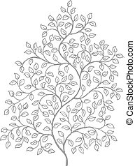 Ornate, elegant curly vines drawing - A retro style ink...