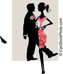 Ornate elegant retro abstract floral design, man and woman with flower dress