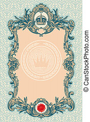 Ornate engraved vintage decorative vector frame
