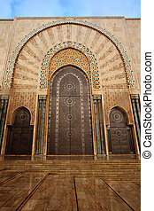 Ornate exterior brass Mosque door
