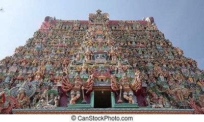 Ornate facade of Hindu temple in detail