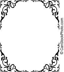 Ornate floral frame with refined vignette in corners