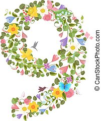 ornate font consisting of the spring flowers and flying hummingbirds. floral number nine