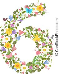 ornate font consisting of the spring flowers and flying hummingb