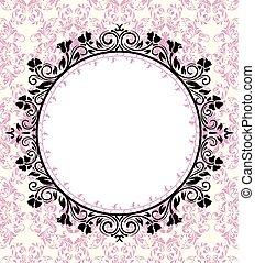Ornate frame on pink damask background