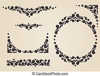 Ornate frames and borders. Hand drawn patterns