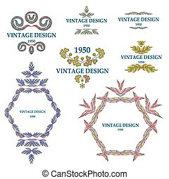 Ornate frames and scroll elements. Vector.