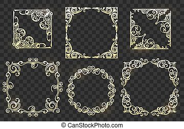 Ornate Frames set on transparent background