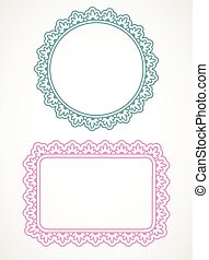 Ornate frames - Two ornate frames, green and pink, isolated ...