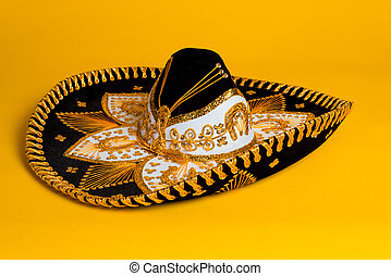 Ornate Gold, black and white Mexican sombrero
