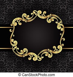 Gold ornate, vintage frame with seamless damask background. File is layered for easy editing. Each element is grouped individually. Colored using just a few global colors, so file can be recolored easily.