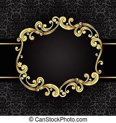 Ornate Gold Frame - Gold ornate, vintage frame with seamless...