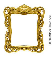 Ornate gold picture frame silhouetted against white