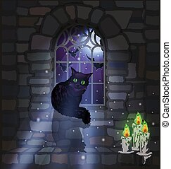 Ornate gothic window with black cat and candles, background, vector illustration
