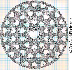 Ornate heart sketch