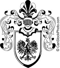ornate heraldic shields illustration on white background
