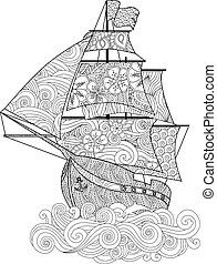 Ornate image of ship on the wave in zentangle inspired doodle style isolated on white. Vertical composition. Coloring book, antistress page for adult and older children. Vector illustration.