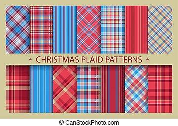 ornate., jul, mönster, struktur, collection., bakgrund., seamless, pläd väv, sätta, vektor