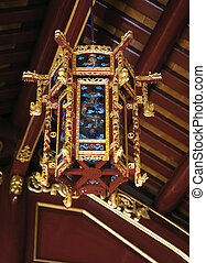 Ornate lantern in Imperial Palace in Hue, Vietnam - Red and ...