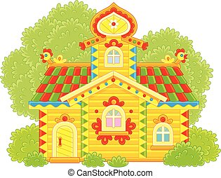 Vector illustration of a colorfully decorated wooden hut from a fairy tale