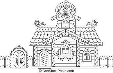 Vector illustration of an old decorated wooden hut from a fairy tale