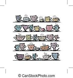 Ornate mugs on shelves, sketch for your design
