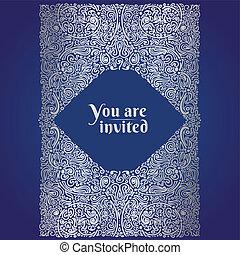 Ornate oriental invitation card, silver foil on blue, vector illustration