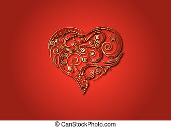 ornate, ouro, heart.