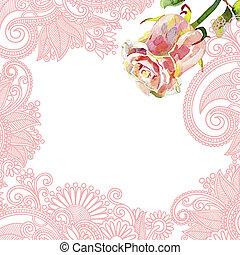 ornate, padrão floral, com, cor-de-rosa, aquarela, rosa