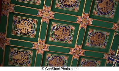Ornate Painted Chinese Ceiling - Elaborately painted dragon...